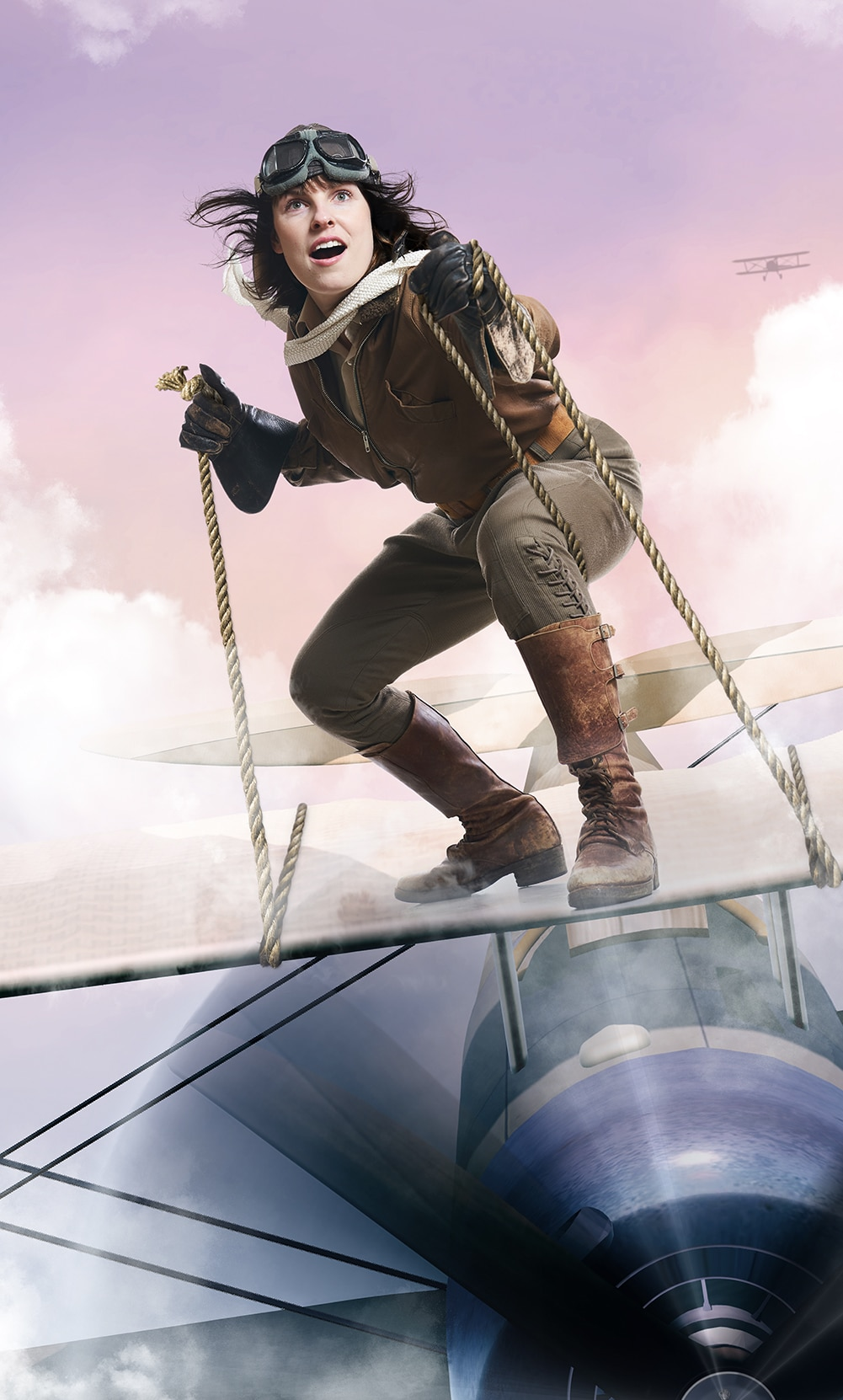 A woman stands on top of an airplane in flight, holding onto two ropes. She is dressed in 1920's aviation clothes. The sky is a purple pink with another visible plane in the background.