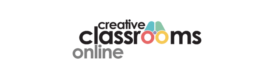 Text creative classrooms online with a logo of binoculars in the middle