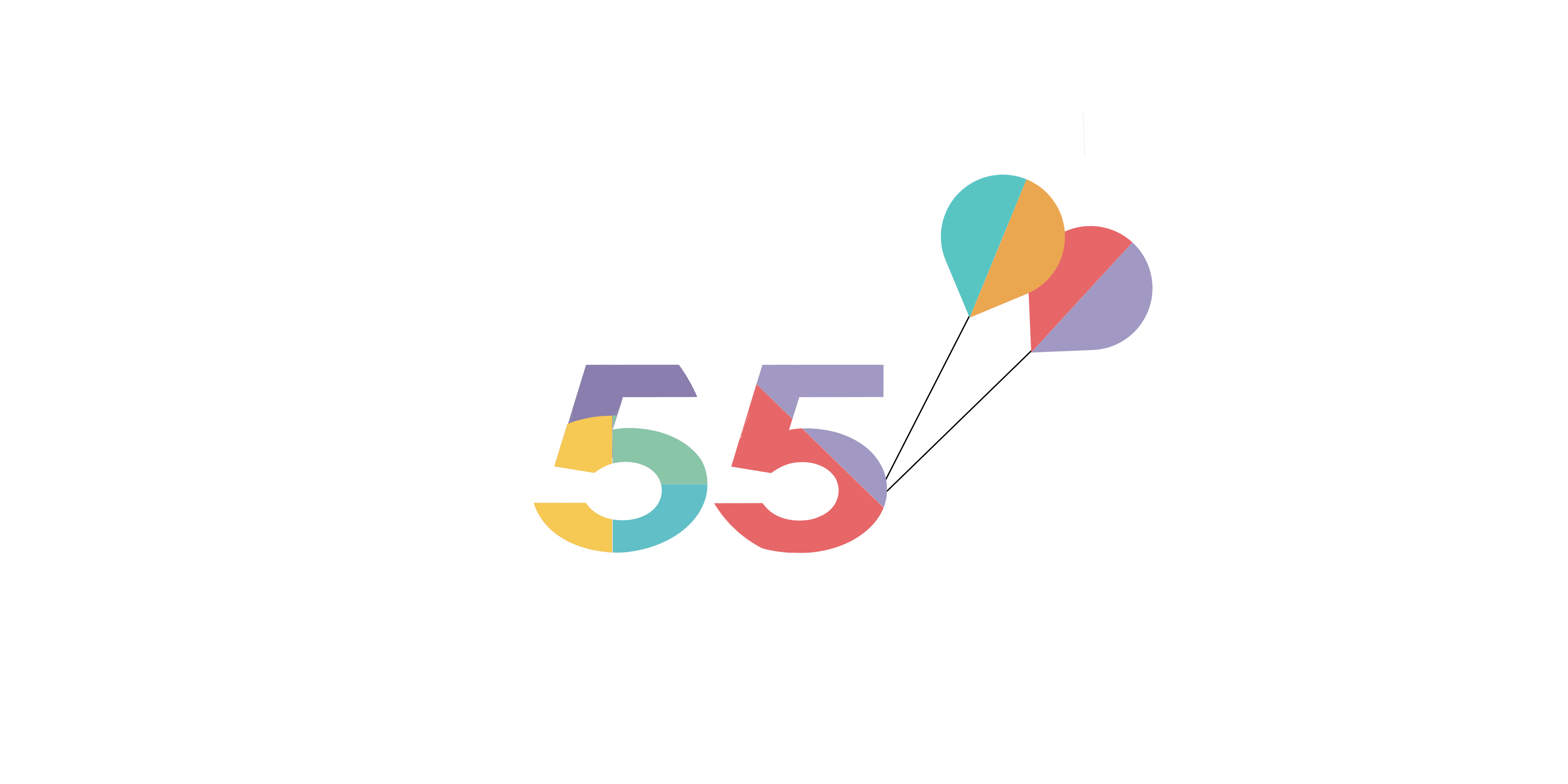 the words Arena 55 with coloured balloons attached