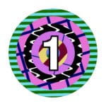 a multi-coloured circle with the number 1 in the center