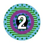 a multi-coloured circle with the number 2 in the center