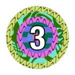 a multi-coloured circle with the number 3 in the center